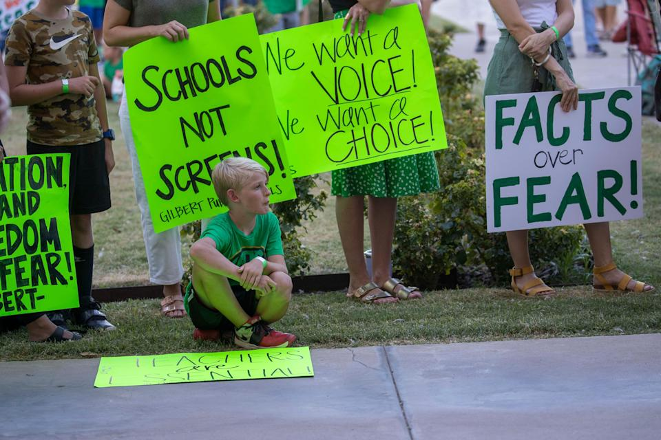Grayson Bair, 9, from Highland Park Elementary in Gilbert, Ariz., attends the