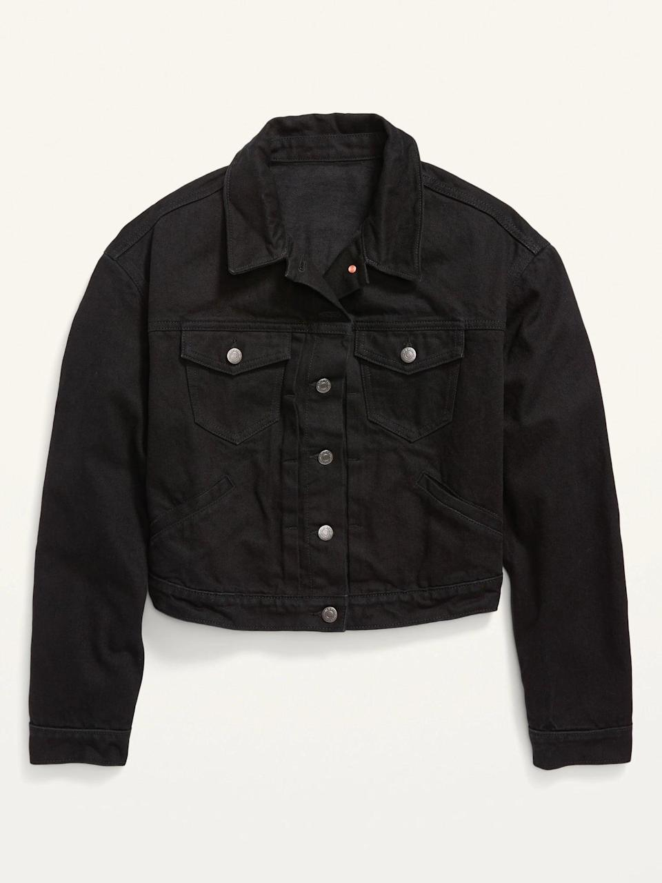 <p>No outfit is complete without this cute <span>Old Navy Cropped Black Jean Jacket</span> ($35, originally $40).</p>