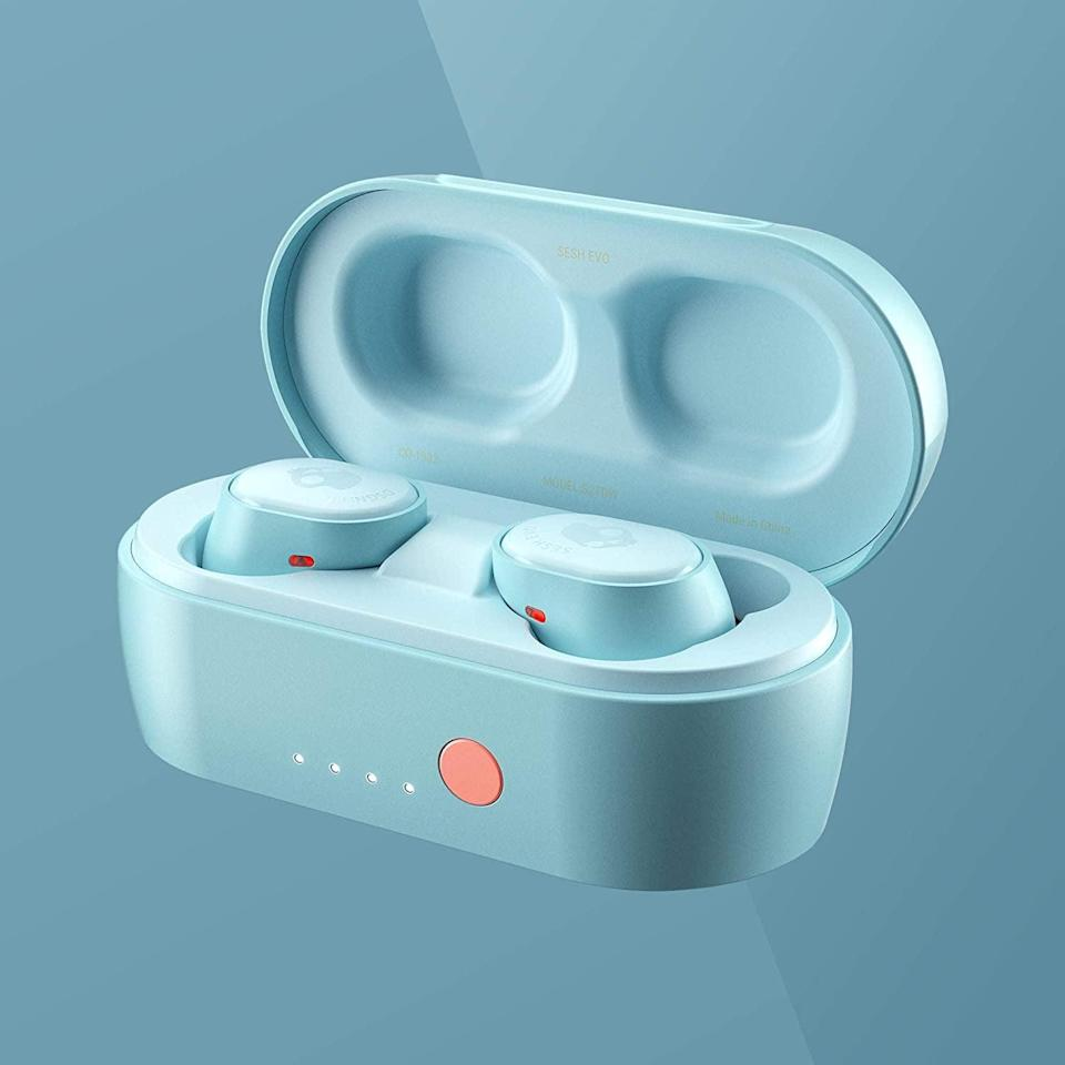 <p>Sport these stunning and affordable <span>Skullcandy Sesh Evo True Wireless In-Ear Earbuds</span> ($49). You can use one bud at a time or both. It is sweat and dust resistant. They comes in beached blue, chill grey, deep red, pure mint, true black.</p>