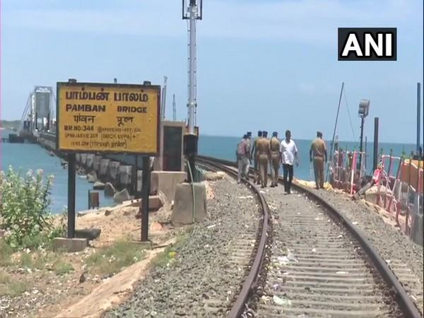 Police personnel visited the Pamban Bridge ahead of Independence Day.