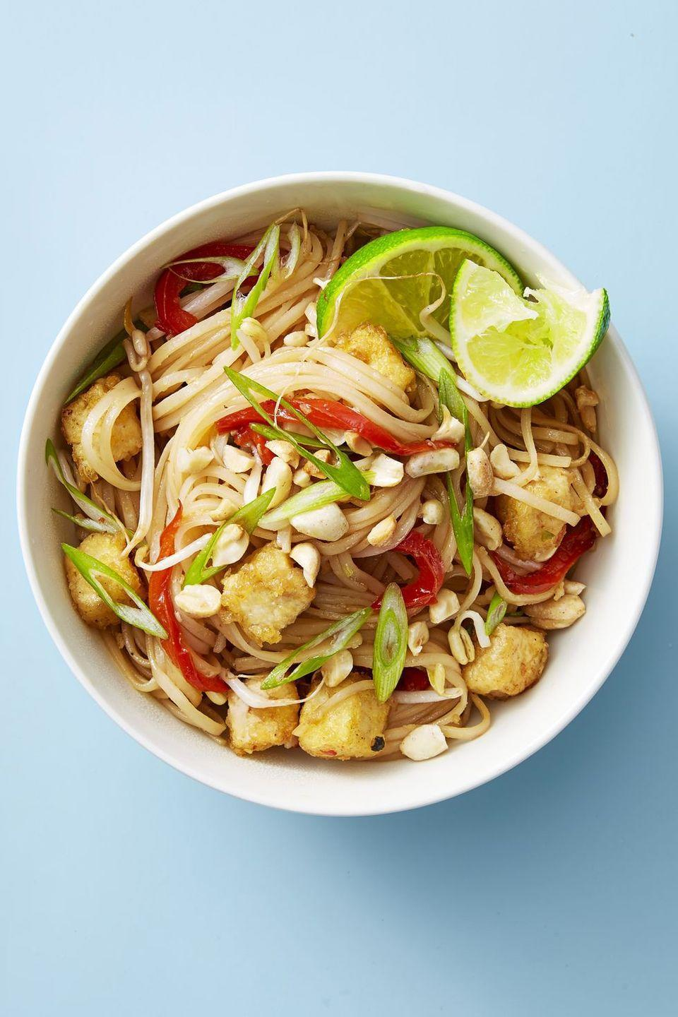 """<p>It's a lunch special classic, but making it at home is super easy — and piling on the tofu will make you forget all about takeout. This noodle dish is ready in just 30 minutes.</p><p><em><a href=""""https://www.goodhousekeeping.com/food-recipes/easy/a48188/tofu-pad-thai-recipe/"""" rel=""""nofollow noopener"""" target=""""_blank"""" data-ylk=""""slk:Get the recipe for Tofu Pad Thai »"""" class=""""link rapid-noclick-resp"""">Get the recipe for Tofu Pad Thai »</a></em></p>"""