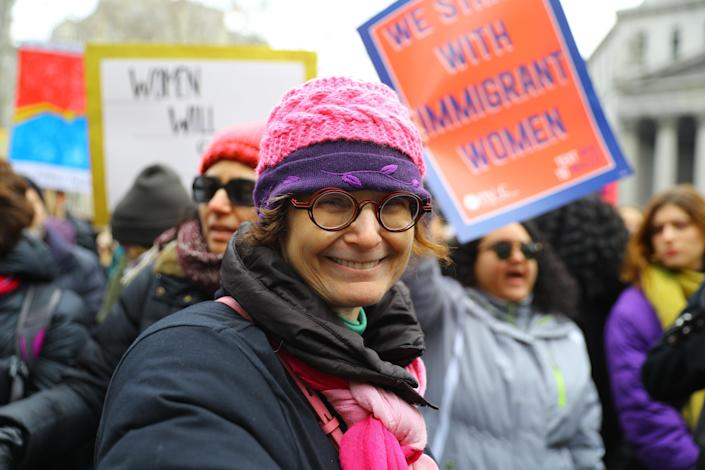 Jan Huttner attends the Women's Unity Rally, hosted by a chapter of Women's March Inc. (Photo: Gordon Donovan/Yahoo News)