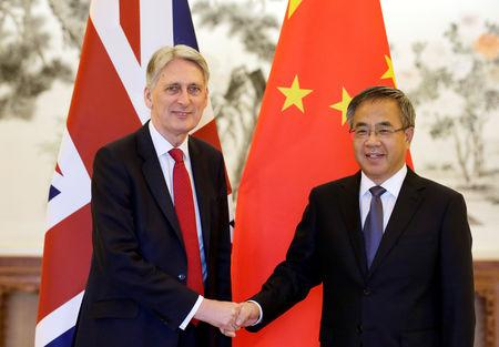 Britain's Chancellor of the Exchequer Philip Hammond meets Chinese Vice Premier Hu Chunhua in Beijing