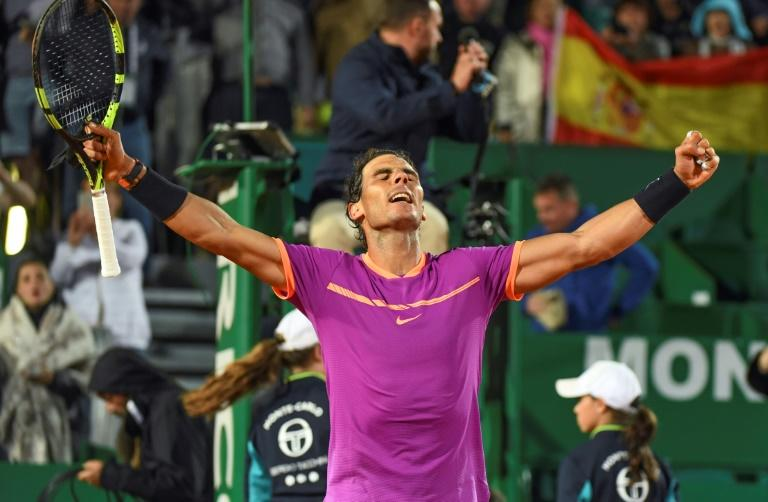 Spain's Rafael Nadal celebrates after winnining his match against Argentina's Diego Schwartzman during the Monte-Carlo ATP Masters Series Tournament tennis match, on April 21, 2017 in Monaco