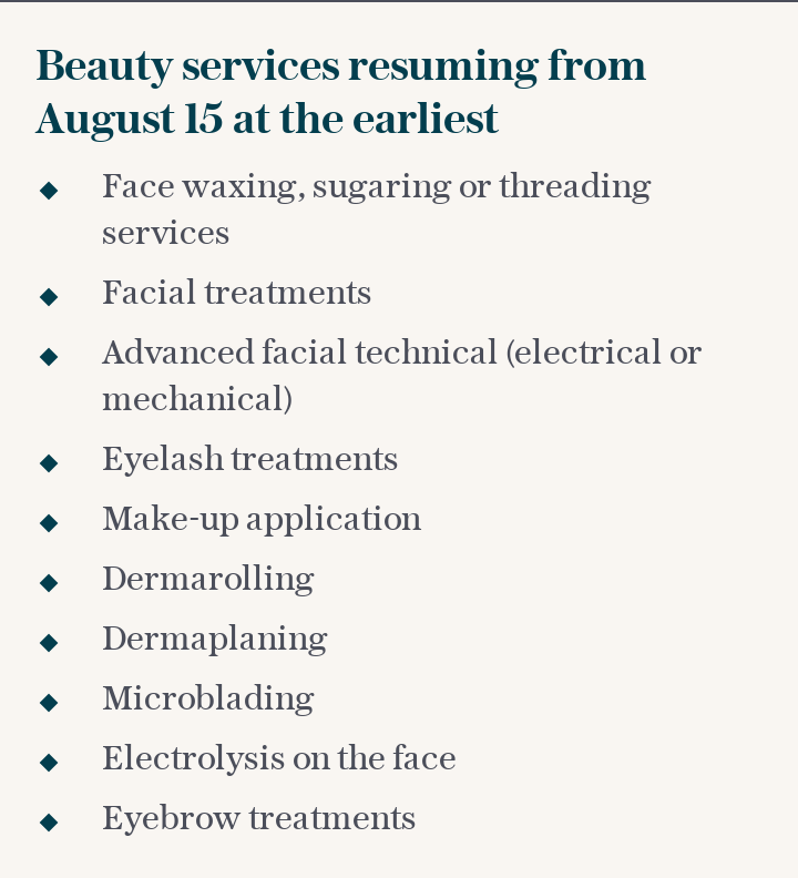 Beauty services resuming from August 15