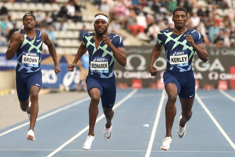 Fred Kerley set a personal best in winning a high-quality 200m at the Paris Diamond League meeting (AFP/Lucas BARIOULET)