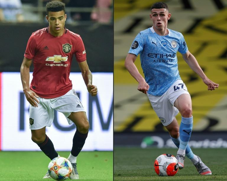 Manchester United's Mason Greenwood (L) and Manchester City's Phil Foden