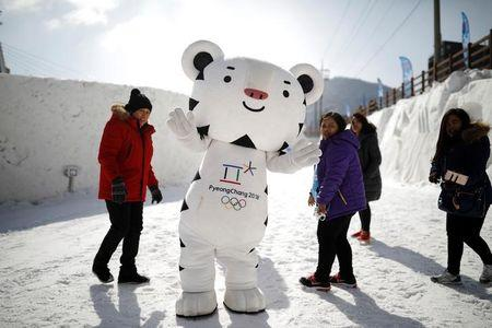The mascot for the 2018 PyeongChang Winter Olympics Soohorang is seen during the Pyeongchang Winter Festival in Pyeongchang