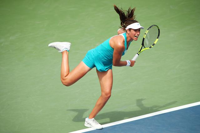 <p>Johanna Konta of Great Britain serves during her first round Women's Singles match against Aleksandra Krunic of Serbia & Montenegro on Day One of the 2017 US Open at the USTA Billie Jean King National Tennis Center on August 28, 2017 in the Flushing neighborhood of the Queens borough of New York City. (Photo by Clive Brunskill/Getty Images) </p>
