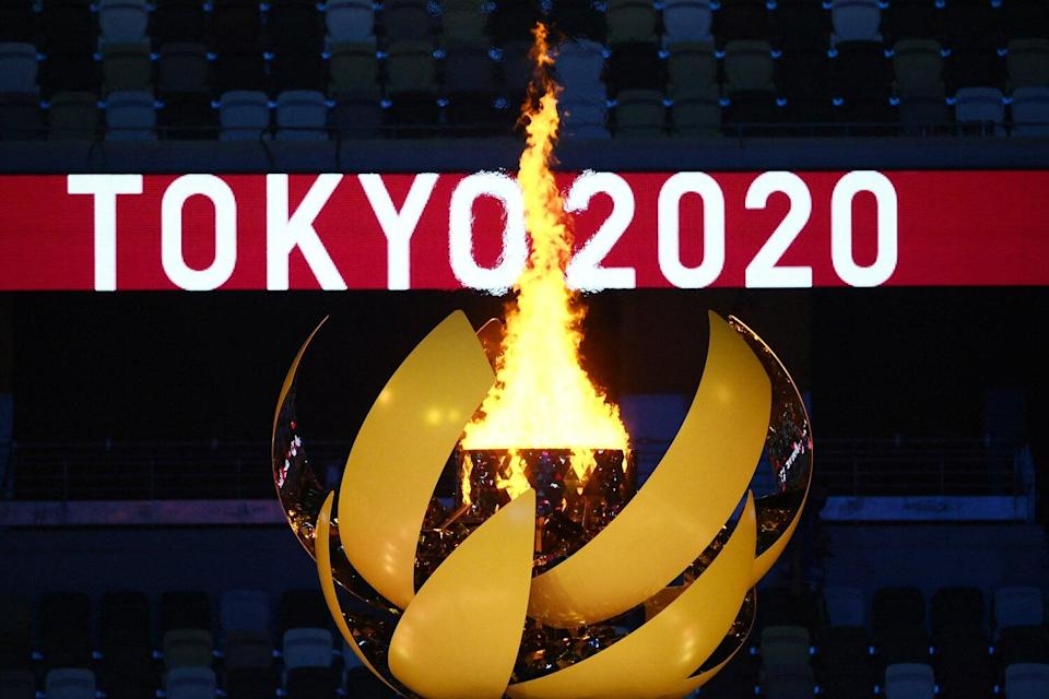 The Olympic Flame burns after the lighting of the Olympic Cauldron during the opening ceremony