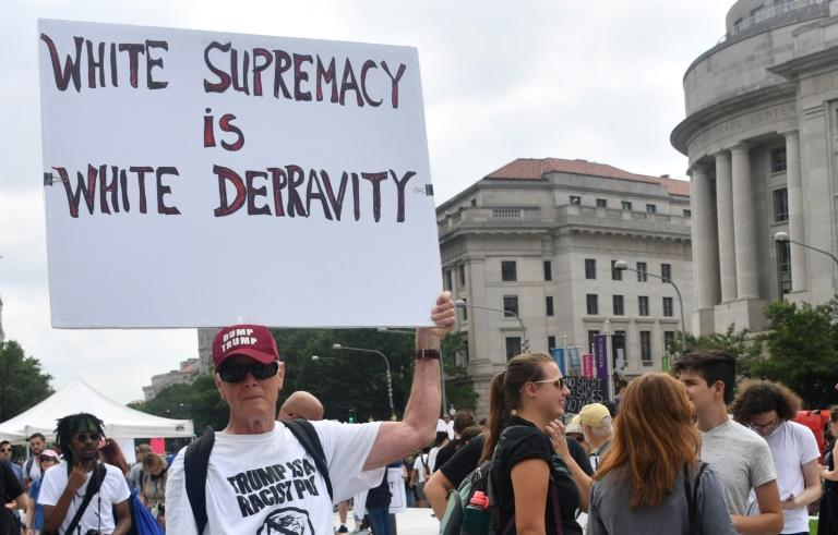 Counter-protesters gather in Washington ahead of the Unite The Right rally