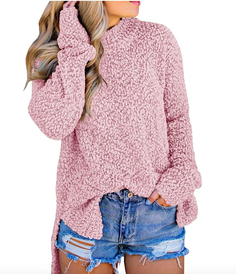 "<a href=""https://amzn.to/3cpBRxK"" target=""_blank"" rel=""noopener noreferrer"">This fuzzy sweater</a> is available in sizes XS to XXL in 18 colors. Find it for $35 on <a href=""https://amzn.to/3cpBRxK"" target=""_blank"" rel=""noopener noreferrer"">Amazon</a>."