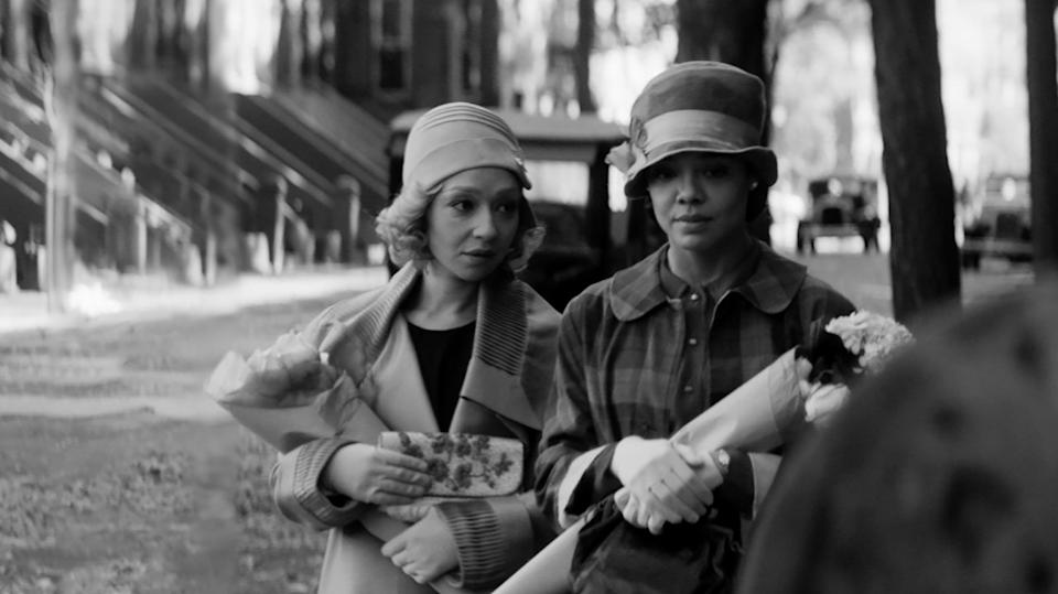"""<strong><h2><em>Passing</em></h2></strong><br>For Rebecca Hall's thought-provoking directorial debut, <em>Passing</em> is the ambitious adaptation of Nella Larsen's much celebrated 1929 novel about race of the same name, uniting Hollywood heavyweights Ruth Negga and Tessa Thompson. One day, when Irene (Thompson) is out running errands, she spots childhood friend Clare (Negga) – now unrecognisably glamorous – and is shocked to find she has been """"passing"""" as a white person for years, even deceiving her racist white husband (Alexander Skarsgard). The pair are drawn together through this chance encounter, which has far-reaching consequences. A simmering and gorgeously-shot meditation of racial identity, class and sexuality.<br><br><em>Out 29th October. </em><span class=""""copyright"""">Photo Courtesy Of BFI</span>"""