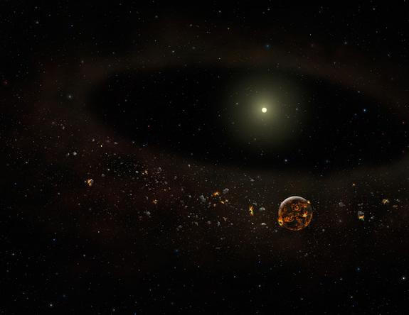 Artist's concept of the TYC 8241 2652 system as it might appear now, after most of the surrounding dust has disappeared.