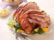 """<p>Honey-glazed ham is a classic of course. This recipe ups the ante with a touch of spice.</p><p><strong><a href=""""https://www.countryliving.com/food-drinks/recipes/a34066/ham-bee-sting-glaze-recipe-ghk0413/"""" rel=""""nofollow noopener"""" target=""""_blank"""" data-ylk=""""slk:Get the recipe"""" class=""""link rapid-noclick-resp"""">Get the recipe</a>.</strong> </p>"""