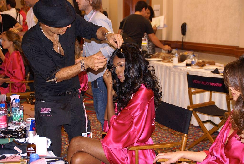 """Just behind Jessica White is a table solely dedicated for the Angels' hair extensions. Most of the models add pieces for that extra volume and bounce. Kevin Mazur/<a href=""""http://www.wireimage.com"""" target=""""new"""">WireImage.com</a> - November 15, 2007"""