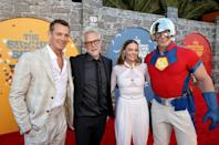 """(L-R) Joel Kinnaman, James Gunn, Margot Robbie, and John Cena attend the Warner Bros. premiere of """"The Suicide Squad"""" at Regency Village Theatre on August 02, 2021 in Los Angeles, California"""