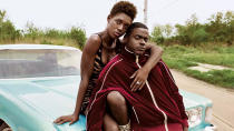 """From the pen of acclaimed TV writer <a href=""""https://uk.movies.yahoo.com/tagged/lena-waithe"""" data-ylk=""""slk:Lena Waithe"""" class=""""link rapid-noclick-resp"""">Lena Waithe</a> comes this thriller, described as a modern take on the story of Bonnie and Clyde. Jodie Turner-Smith and Daniel Kaluuya have their first date interrupted by an over-zealous cop, who ends up dead after a traffic stop, forcing them to go on the run. (Credit: eOne)"""