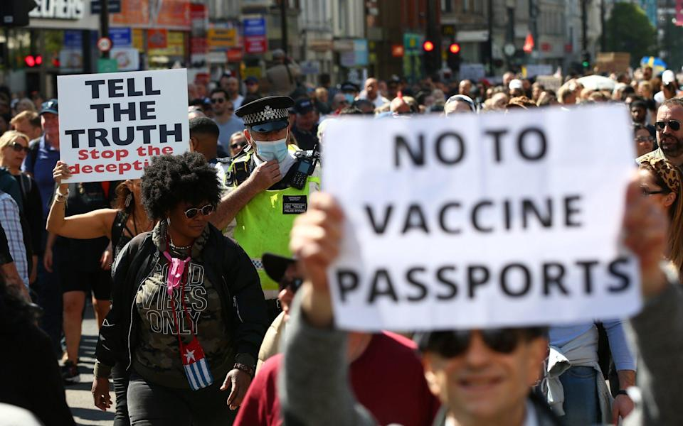 """""""Unite For Freedom"""" Protest Against Vaccine Passports Held In London - Hollie Adams/Getty Images Europe"""