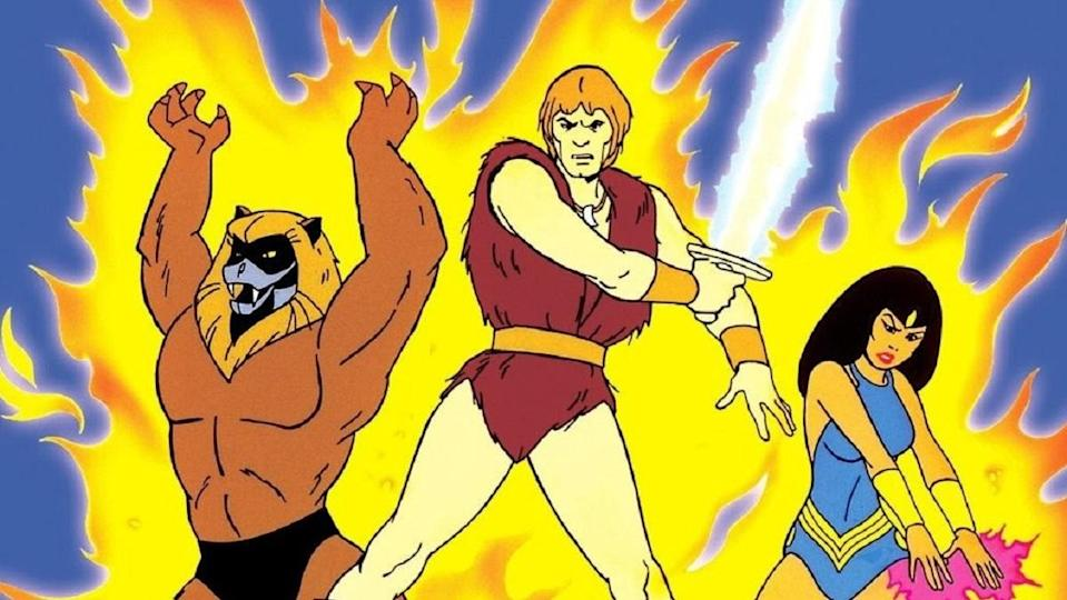 From left, Ookla, Thundarr, and Princess Ariel from the 1980 cartoon Thundarr the Barbarian.