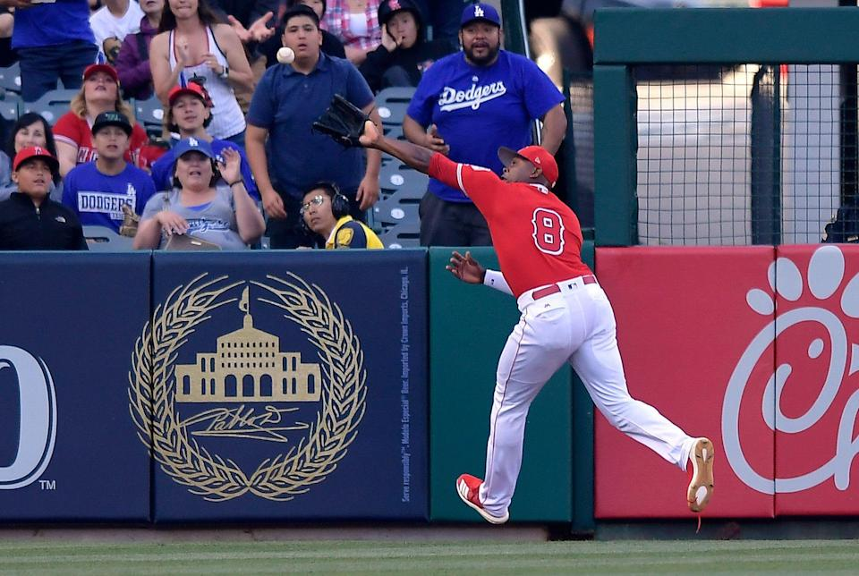 Angels outfielder Justin Upton expected to miss 8-12 weeks with toe injury. (AP Photo/Mark J. Terrill)