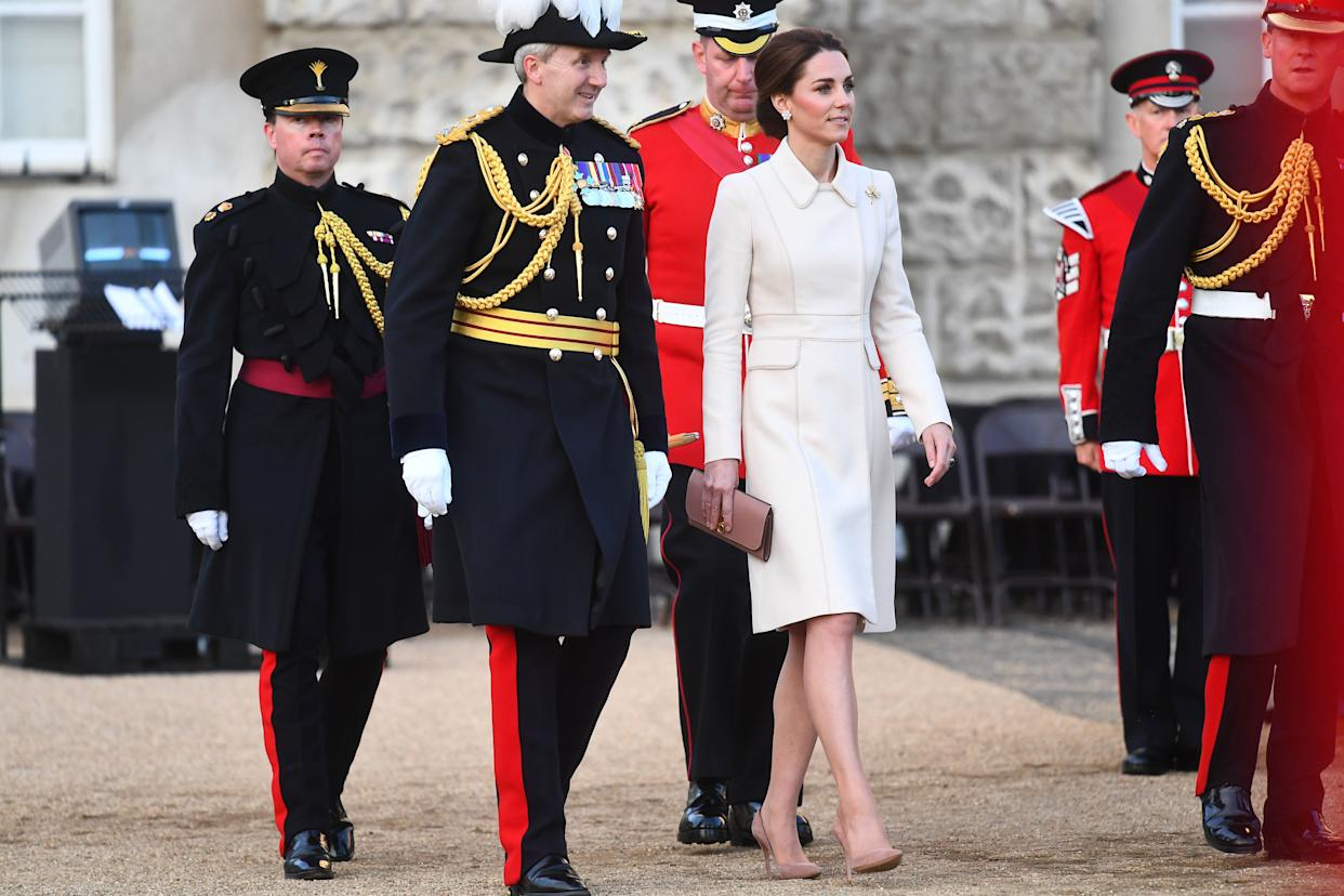 The Duchess of Cambridge during the annual Beating Retreat ceremony, which features over 750 soldiers, on Horse Guards Parade, London.