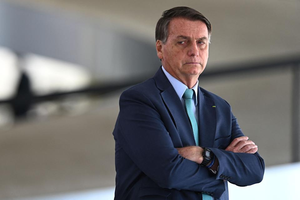 Brazilian President Jair Bolsonaro is pictured before of the welcome ceremony to the Cape Verde's President Jorge Carlos Fonseca at Planalto Palace in Brasilia, on July 30, 2021. (Photo by EVARISTO SA / AFP) (Photo by EVARISTO SA/AFP via Getty Images)