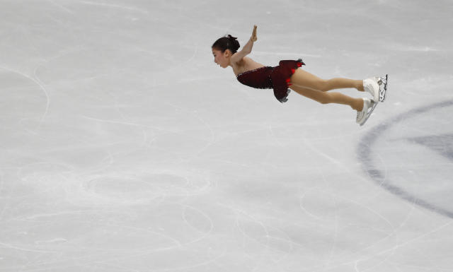 U.S. Mirai Nagasu performs during women's short program at the Figure Skating World Championships in Assago, near Milan, Wednesday, March 21, 2018. (AP Photo/Antonio Calanni)