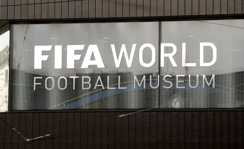 FILE PHOTO: A sign is seen at the building of the new FIFA World Football Museum in Zurich