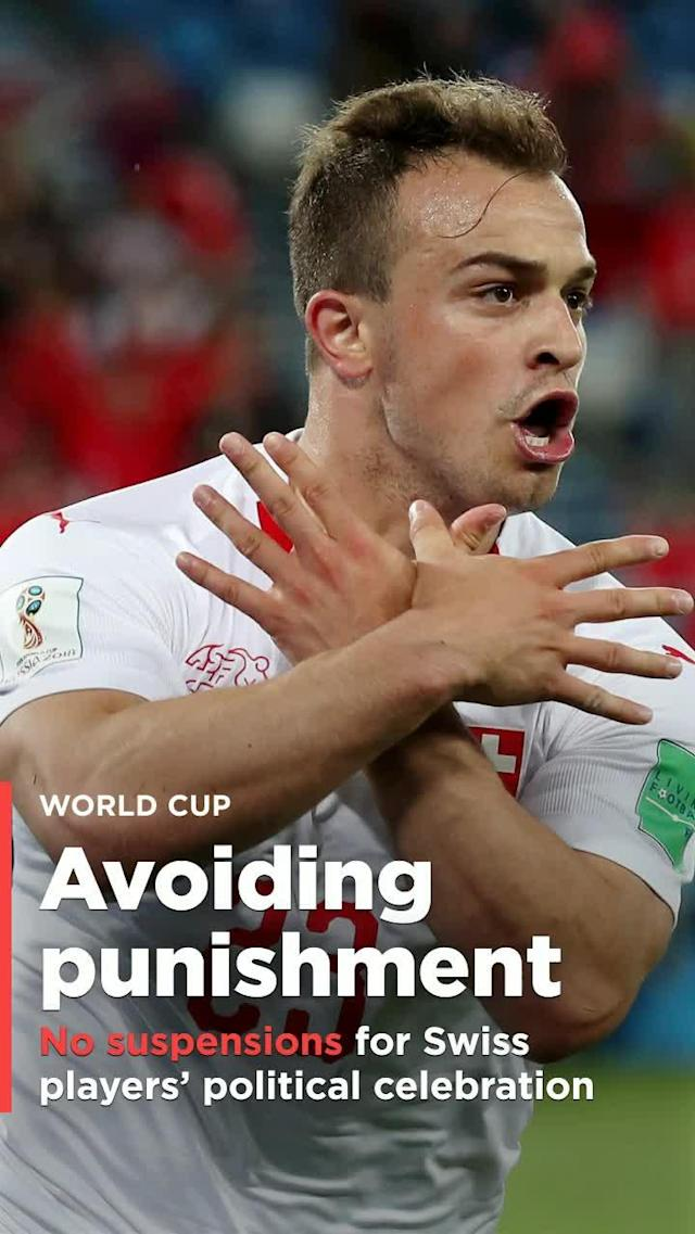 "Switzerland stars Granit Xhaka and Xherdan Shaqiri will not be suspended for World Cup games for their provocative ""Albanian eagle"" celebrations in their team's 2-1 win over Serbia."