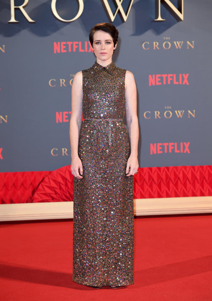 <p>The British star showed off her new pixie cut in a sparkling Dior dress.<br /><i>[Photo: Getty]</i> </p>