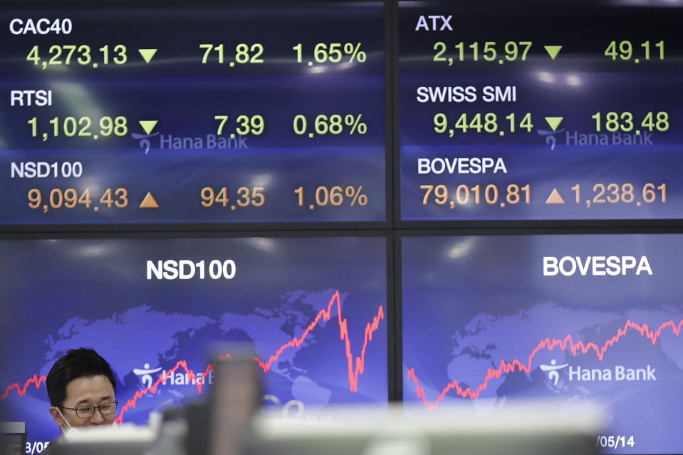 A currency trader talks near screens at the foreign exchange dealing room in Seoul, South Korea, Friday, May 15, 2020. Asian shares were mixed Friday as markets meandered on news about economies reopening, mixed with worries about the prolonged health risks from the new coronavirus. (AP Photo/Lee Jin-man)
