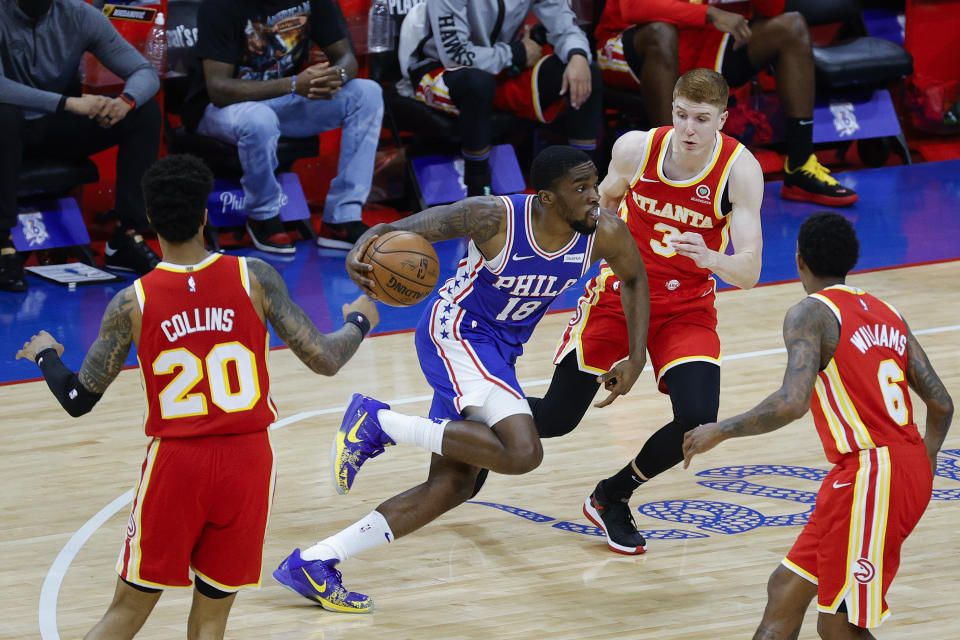 Sixers guard Shake Milton scored 14 second-half points off the bench to help swing Game 2 against the Hawks. (Tim Nwachukwu/Getty Images)