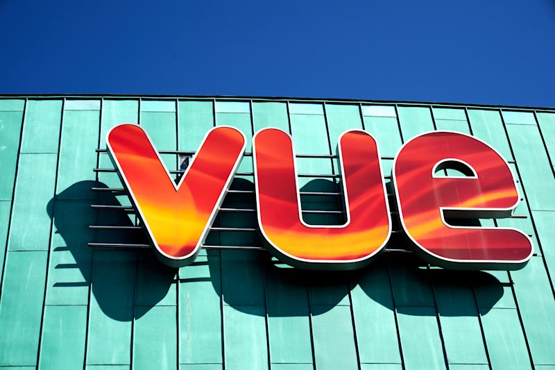 Vue cinema signage outside the atrium shopping centre in Camberley town centre (Photo by John Walton/PA Images via Getty Images)