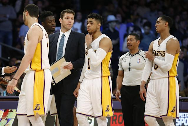 The Lakers have a young coach in Luke Walton and young players such as, from left, Larry Nance Jr., D'Angelo Russell and Jordan Clarkson. (AP)