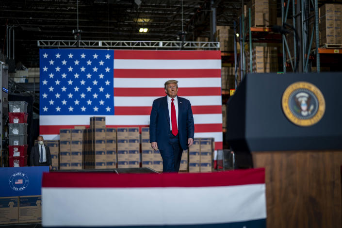 President Donald Trump during a visit to a medical supply distributor in Allentown, Pa., May 14, 2020. (Doug Mills/The New York Times)