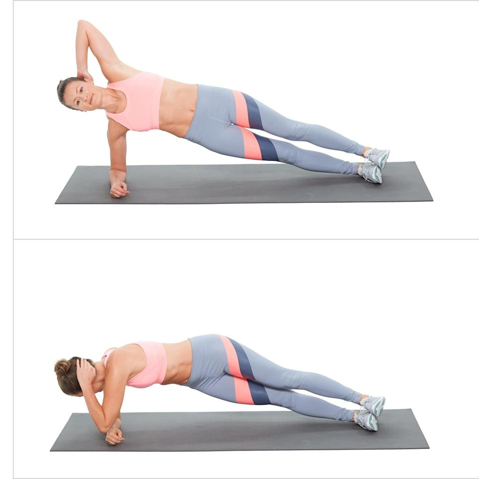 <ul> <li>In an elbow plank on your right side, twist to bring your left elbow to your right hand. </li> <li>This completes one rep. Be sure to perform a set on both sides. </li> </ul>
