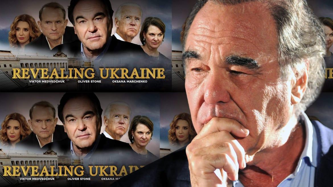 """Photo Illustration by The Daily Beast/Photos Getty / RevealingUkraine.comWhen Oliver Stone announced at the end of June that he would be premiering a new documentary, Revealing Ukraine, at the Taormina Film Festival in Sicily, not many people noticed. That's not itself so surprising given his slide over recent years from producing acclaimed Hollywood blockbusters into bootlicking hagiographies of dictators with axes to grind against the United States. The only media that did take an interest was controlled by either the Russian government or a certain Ukrainian businessman.The trailer for Revealing Ukraine is a mess. Half-finished lines of dialogue are cut with sinister, dramatic music as if they are of great importance when they often seem to be cut from the middle of phrases, leaving them incomprehensible. The promotional material on the film's website is exceptionally embarrassing, with grating Ringlish abundant:In the move the main speaker—heavyweight Ukrainian politician, opposition leader—Viktor Medvedchuk is being interviewed by the filmmaker Oliver Stone. Oliver Stone also sit with Russian president Vladimir Putin to ask him a questions about Ukrainian crisis.The re-use of so many elements from Stone's previous documentary, Ukraine on Fire, screams of a bargain-bin production. In fact the promotional poster for Revealing Ukraine even uses the exact same photo of Stone from that of Ukraine on Fire—and in the same position no less.Stone's opening line in the trailer is: """"Good morning Mr Medvedchuk, I'm Oliver Stone.""""Viktor Medvedchuk has remained an ominous figure in Ukrainian politics, despite a period lying low after the 2014 Maidan revolution, during which his office was raided by activists who discovered, inter alia, a portrait of the man often dubbed Ukraine's prince of darkness in full, Napoleonic-era imperial military regalia.'The Putin Interviews': Oliver Stone's Wildly Irresponsible Love Letter to Vladimir PutinStephen Colbert Grills Oliver Stone Over"""