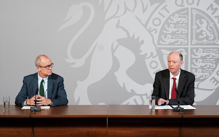 The Chief Medical Officer, Professor Chris Whitty, and the Chief Scientific Adviser, Sir Patrick Vallance, give a Coronavirus Data Briefing in 10 Downing Street.  - Pippa Fowles/No10 Downing Street