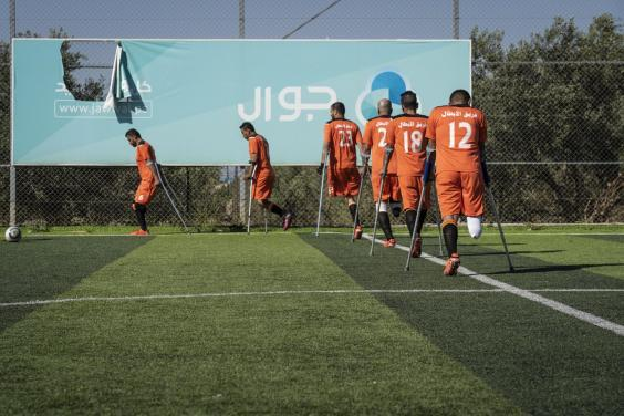 One of Gaza's seven amputee football teams train in Deir al-Balah despite fasting in the summer heat (Bel Trew)