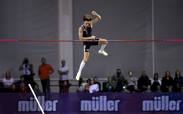 Armand Duplantis in action in Glasgow