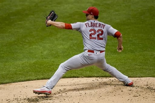 St. Louis Cardinals starting pitcher Jack Flaherty throws during the third inning of a baseball game against the Milwaukee Brewers Tuesday, Sept. 15, 2020, in Milwaukee. (AP Photo/Morry Gash)