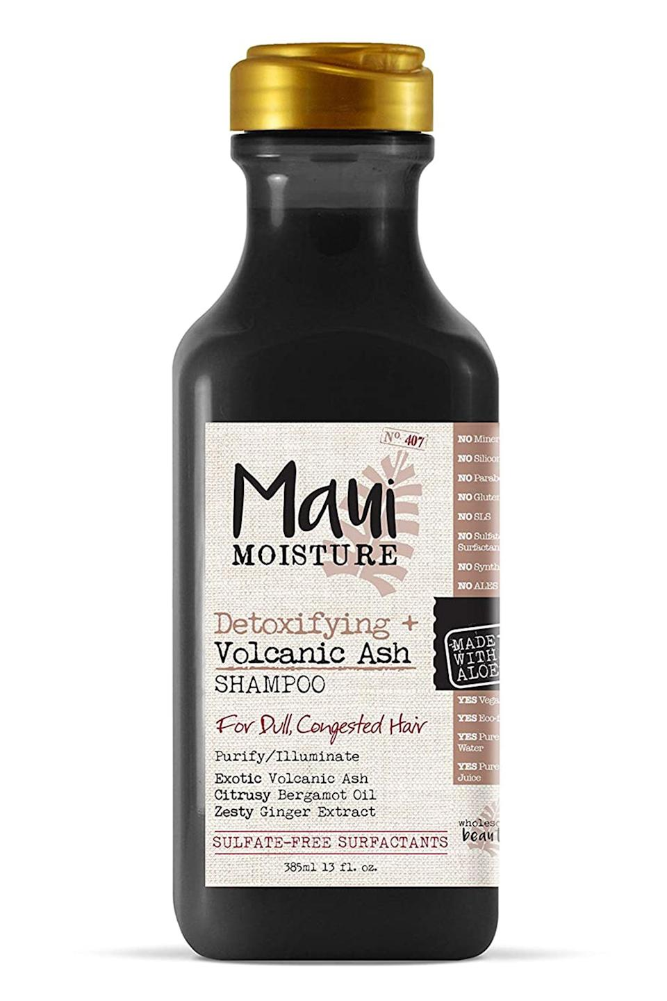 "<p><strong>Maui Moisture</strong></p><p>amazon.com</p><p><strong>$8.99</strong></p><p><a href=""https://www.amazon.com/dp/B07GQNZ9LS?tag=syn-yahoo-20&ascsubtag=%5Bartid%7C10058.g.25647514%5Bsrc%7Cyahoo-us"" rel=""nofollow noopener"" target=""_blank"" data-ylk=""slk:SHOP IT"" class=""link rapid-noclick-resp"">SHOP IT</a></p><p>Celebrity stylist <a href=""https://www.instagram.com/nikkinelms/"" rel=""nofollow noopener"" target=""_blank"" data-ylk=""slk:Nikki Nelms"" class=""link rapid-noclick-resp"">Nikki Nelms</a>, who works with Zoë Kravitz, Janelle Monae, Yara Shahidi, and more, is a fan of this drugstore gem for a good reason. Nelms is also a huge proponent of a healthy, hydrated scalp for optimal hair growth. ""Use a shampoo like Maui Moisture's Detoxifying + Volcanic Ash Shampoo because <strong>it has essential ingredients like ginger extract and aloe, which refresh the scalp and add hydration so that your hair will grow to its healthiest potential.</strong> It's also important to be gentle with your hair throughout this journey and use tools like <a href=""https://www.allure.com/story/goody-nikki-nelms-total-texture-planet-goody-collections"" rel=""nofollow noopener"" target=""_blank"" data-ylk=""slk:Goody Total Texture detangling paddle brush"" class=""link rapid-noclick-resp"">Goody Total Texture detangling paddle brush</a> infused with mongongo oil to prevent excessive shedding.</p>"