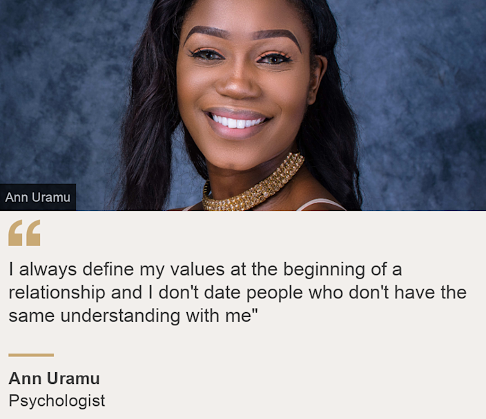 """""""I always define my values at the beginning of a relationship and I don't date people who don't have the same understanding with me"""""""", Source: Ann Uramu, Source description: Psychologist, Image: Ann Uramu"""