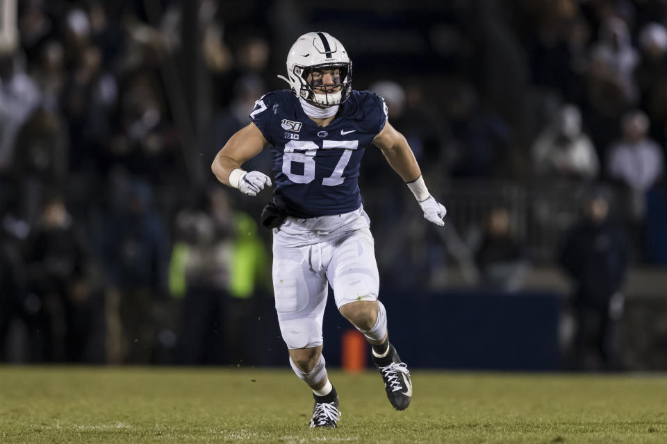 STATE COLLEGE, PA - NOVEMBER 30: Pat Freiermuth #87 of the Penn State Nittany Lions in action against the Rutgers Scarlet Knights during the second half at Beaver Stadium on November 30, 2019 in State College, Pennsylvania. (Photo by Scott Taetsch/Getty Images)