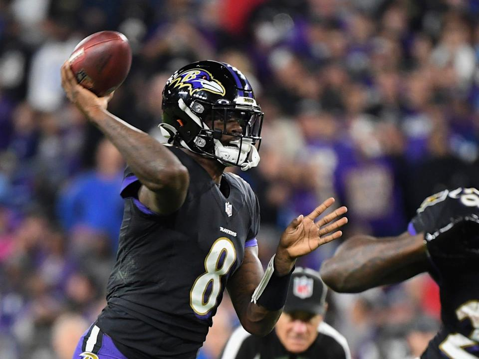 Lamar Jackson makes a throw against the Indianapolis Colts.