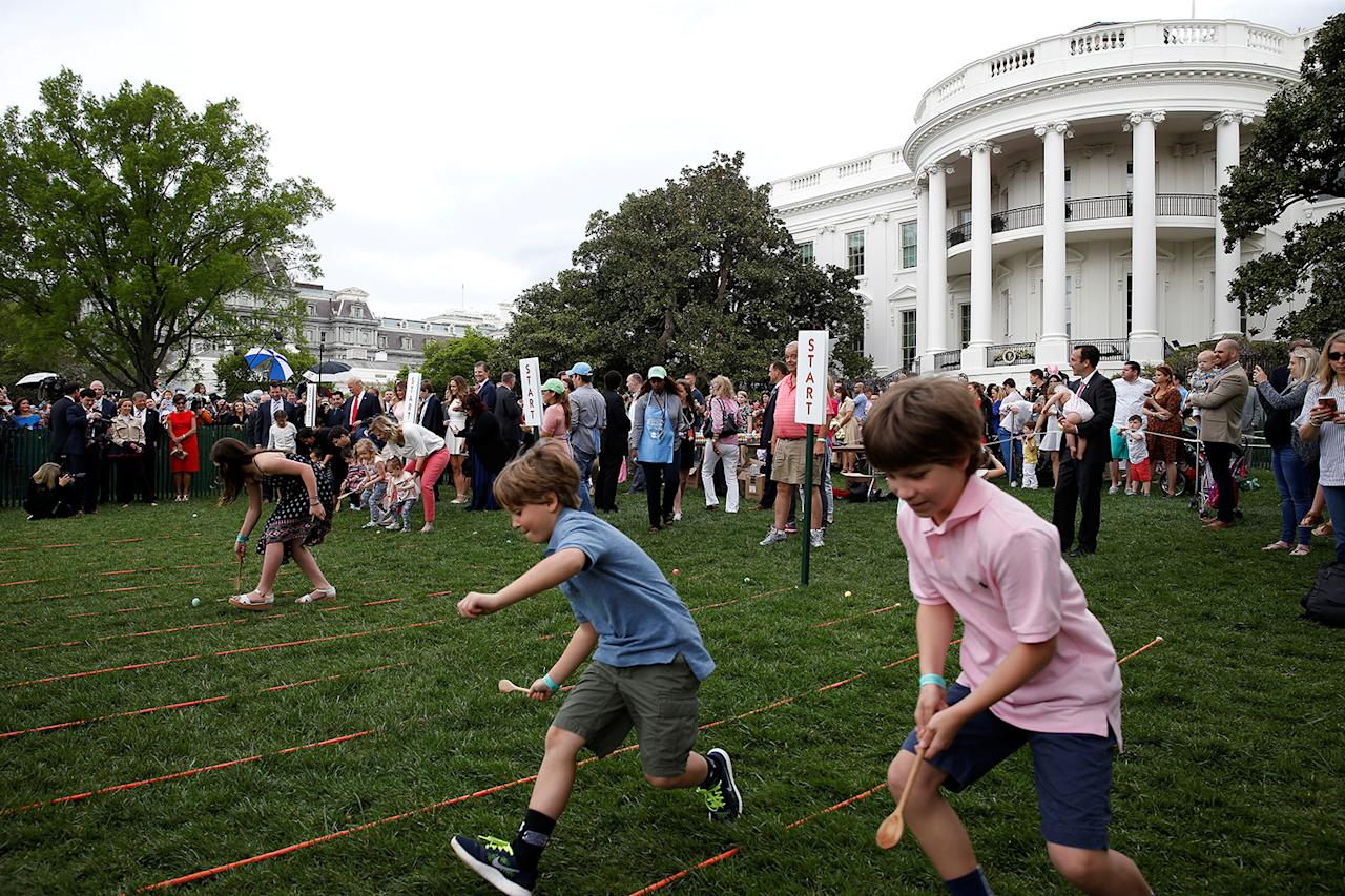 <p>Children take part in the 139th annual White House Easter Egg Roll on the South Lawn of the White House in Washington, April 17, 2017. (Photoa: Joshua Roberts/Reuters) </p>