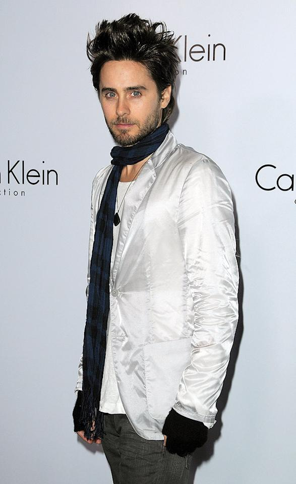 """Musician/actor Jared Leto arrived looking like he'd either hung his head out the car window on the way over, or had survived quite a scare in the parking lot. Jordan Strauss/<a href=""""http://www.wireimage.com"""" target=""""new"""">WireImage.com</a> - January 28, 2010"""