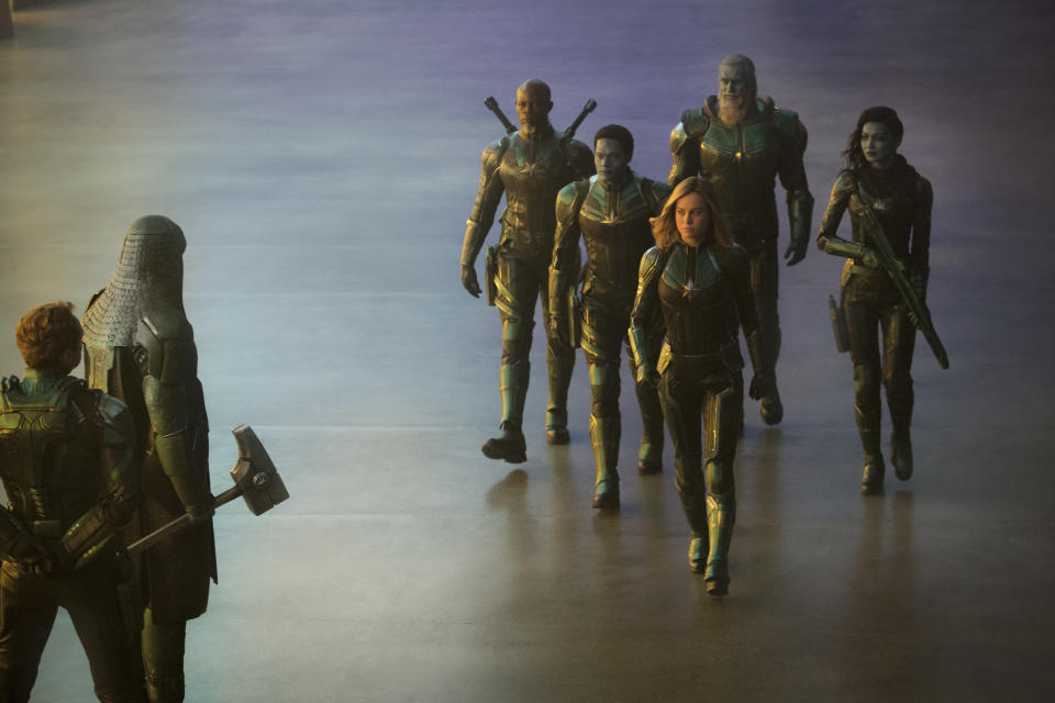 Ronan the Accuser (Lee Pace, second from left) meets Captain Marvel. (Photo: Marvel Studios)