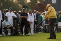 Lee Elder and Gary Player watch as Jack Nicklaus hits the ceremonial first tee during the first round of the Masters golf tournament on Thursday, April 8, 2021, in Augusta, Ga. (AP Photo/Matt Slocum)